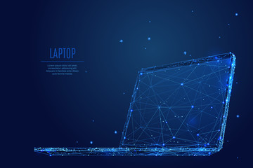 A laptop composed of polygons. Low poly vector illustration of a starry sky style. Notebook consists of lines, dots and shapes. Internet or digital or devices and computer symbol.