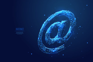 Internet AT or email symbol. The At symbol composed of polygons. Low poly vector illustration of a starry sky or Comos. The At consists of lines, dots and shapes. Polygonal image of internet .