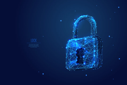 Abstract closed lock without key on dark blue background. Protect or security symbol composed of polygons. Low poly vector illustration of a starry sky or Comos, consists of lines, dots and shapes.