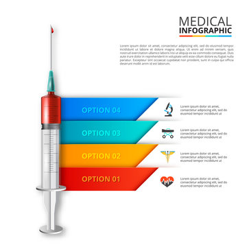 Vector syringe infographic. Medical and healthcare template for presentation with 4 steps, options, parts or processes.