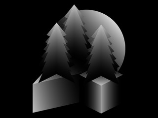 Fir trees and 3d isometric cube. Black and white gradient. Surrealism in gray shades. Vector illustration