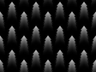 Christmas tree monochrome seamless pattern. Black and white gradient. Vector illustration