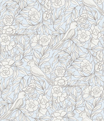 Seamless pattern, background with Floral pattern in art nouveau style,