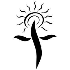 Cross with shining sun, Christian glory, pattern