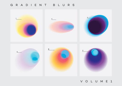 Colorful vibrant gradient blurs design elements