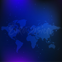 International competition, blue background, world map