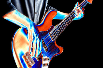 psychedelic image of bassist playing bass guitar