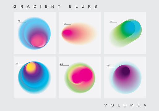 Vivid colorful abstract gradient blurs collection