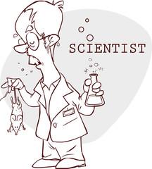 vector illustration of a  cute scientist illustration