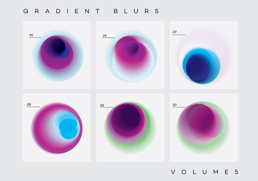 Colorful vibrant abstract circular gradient blurs collection
