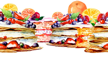 Seamless watercolor background, linear drawing, border with a pattern of berry cake, pie, cream cake. Drawing on a  background isolated. Portion biscuit pie with strawberries.orange slices, lemon.