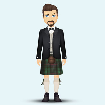 traditional Scottish man with kilt