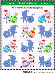 Winter holidays themed visual puzzle or picture riddle with cute little pigs and beautiful baubles: Can you find the shadow for each picture? Answer included.