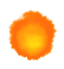 Orange and yellow watercolor spot, isolated on white background. Vector illustration.