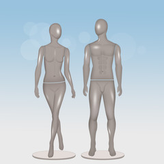 illustration of male and female mannequin