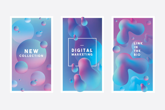 Set of colorful vibrant abstract banner templates with liquid gradients in blue and purple color combinations