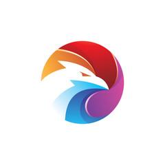 Colorful eagle, falcon, hawk and circle logo