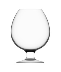Empty cognac glass isolated on white background, 3D illustration.