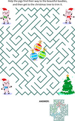 Winter holidays, Christmas or New Year maze game: Help the little pigs get to the christmas tree and trim it. Answer included.