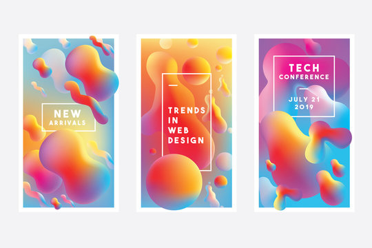 Set of vibrant templates with abstract gradient liquid shapes in blue, red, purple and yellow color combinations