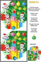 Winter holidays themed visual puzzle: Find the seven differences between the two pictures of cute little pigs, christmas tree and presents. Answer included.