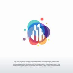 Colorful Building logo designs concept vector, Real estate logo template