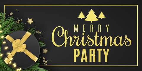 Christmas banner for party. Black gift box with a gold ribbon. Confetti with serpentine and golden stars. Glowing gold light garland on fir tree. Vector illustration