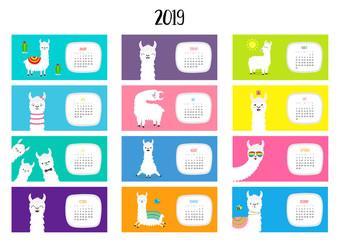 Llama alpaca calendar 2019. Horizontal monthly. Cute funny cartoon character set. All month. Happy Valentines Christmas St Patrick day Easter Egg Bird Chicken Umbrella, rain. Santa hat sun Flat design