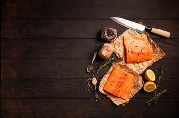 Fotoväggar - Salmon fish fillet