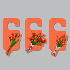 Tags with hand drawn  colored sketch of bouquets spring red tulips on orange background.