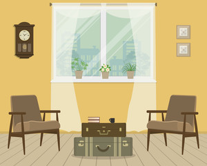 Yellow living room in retro style. There are brown armchairs, a table in the form of a suitcases in the picture. There are indoor flowers on the windowsill. There are also a wall clock here. Vector