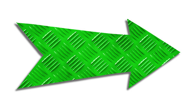 Green metallic iron direction arrow sign with steel checker plate (or diamond plate) industrial metal texture pattern cut out isolated on a white background.