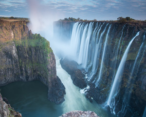 Early morning at Victoria Falls from Zambia looking into Zimbabwe