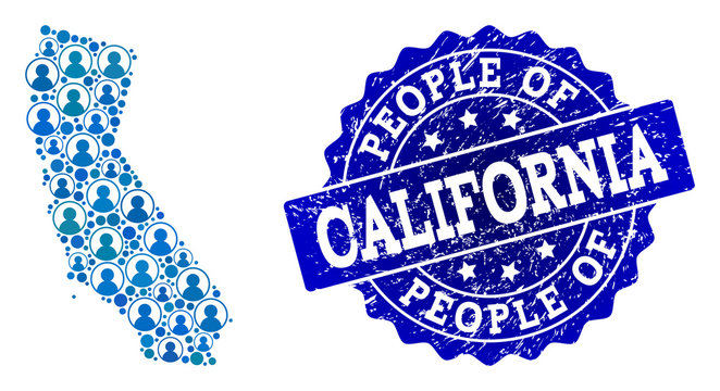 People collage of blue population map of California and scratched stamp. Vector seal with scratched rubber texture. Mosaic map of California designed with rounded users.