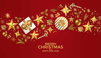 Holiday New year card - 2019 on red background 4