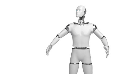 3d rendering humanoid robot thinking and Select something robot point object on white background