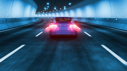 Modern Electric car rides through tunnel with cold blue light style 3d rendering
