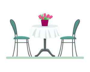Restaurant table with chairs and a bouquet of tulips. Flat isolated vector illustration.