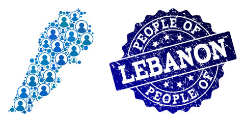 People composition of blue population map of Lebanon and unclean seal stamp. Vector seal with unclean rubber texture. Mosaic map of Lebanon designed with rounded users.