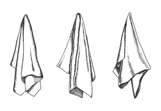kitchen towels vector sketch. napkin drawing isolated object