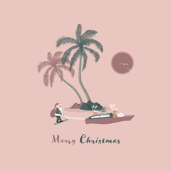 Christmas time. Reindeers in boat pull Santa Claus on skis. Tropical landscape in trendy colors. Text: Merry Christmas