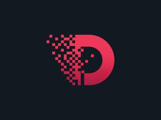 Fototapeta Pixel letter D logo obraz