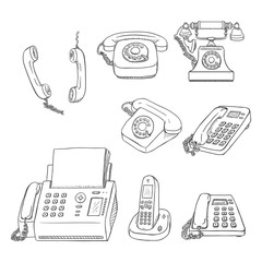 Vector Set of Sketch Telephones and Handsets. Collection of Phones.