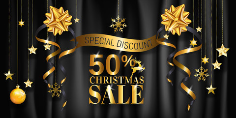 Christmas sale banner design for poster, web, brochure with 50% off in gold on black background.