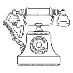 Vector Sketch Old Vintage Telephone. Retro Rotary Phone