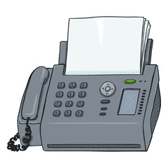 Vector Cartoon Fax Machine. Office Telephone