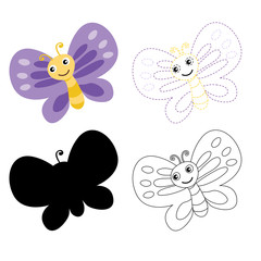 butterfly worksheet vector design for kid