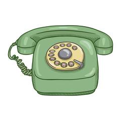 Vector Cartoon Green Retro Style Rotary Phone