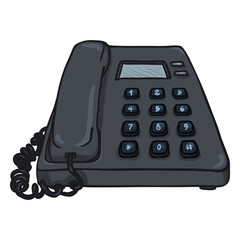 Vector Cartoon Dark Grey Office Telephone