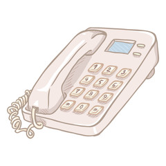 Vector Cartoon White Office Telephone